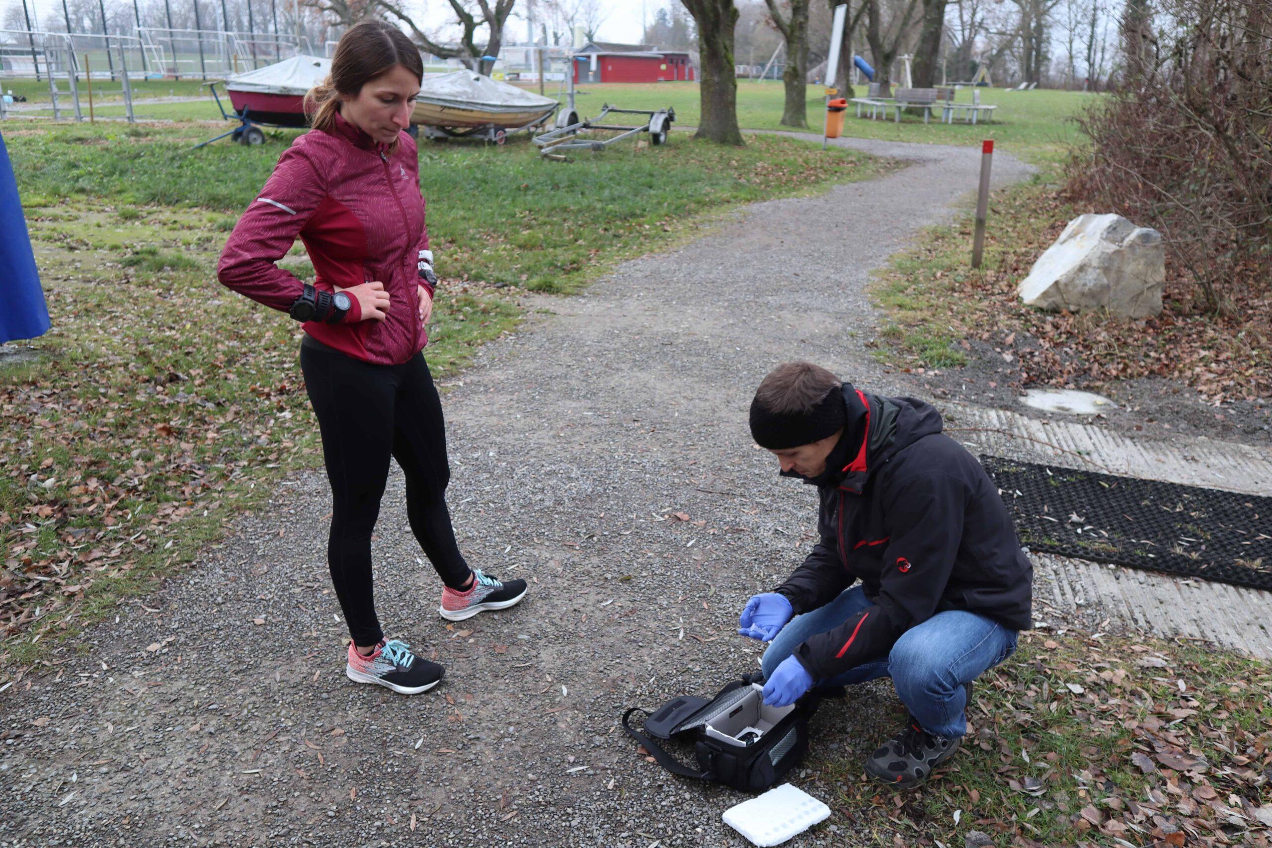 Runner performing an outdoor field test